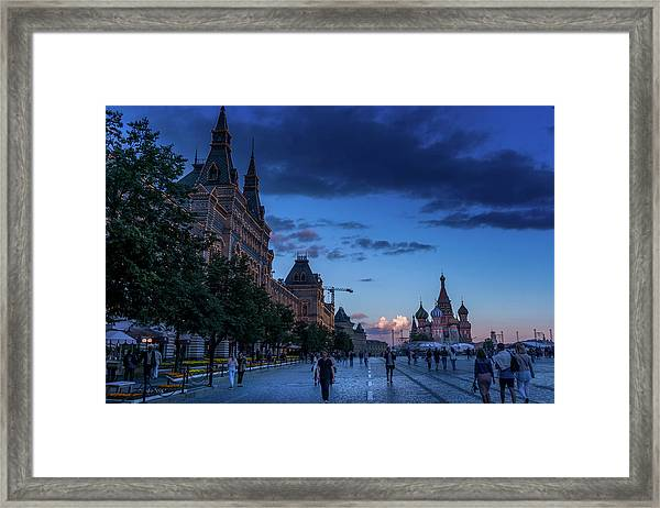 Red Square At Dusk Framed Print