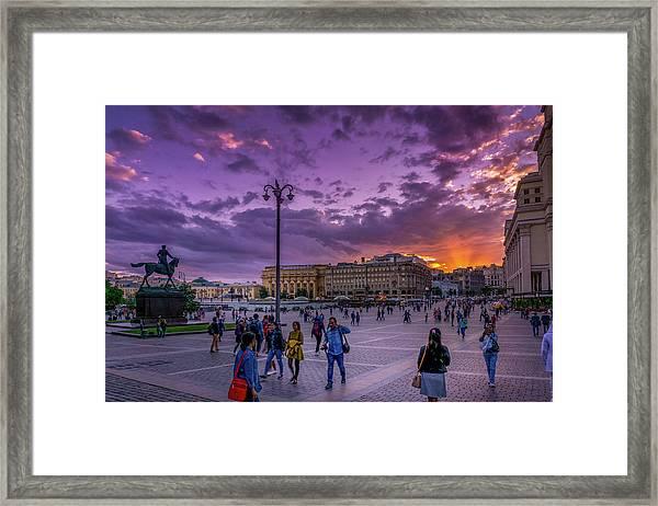 Red Square At Sunset Framed Print