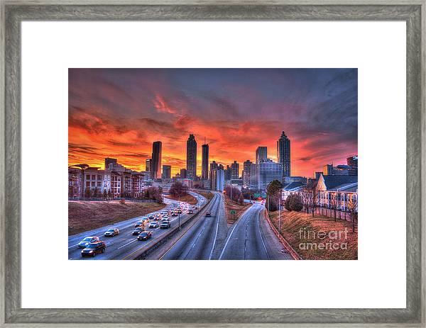Red Sunset Atlanta Downtown Cityscape Framed Print