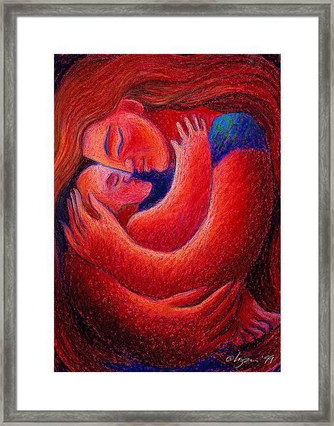 Red Sunset Mama Framed Print