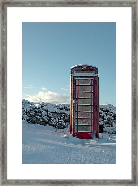 Red Telephone Box In The Snow IIi Framed Print