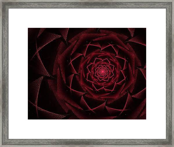 Red Textile Rose Framed Print