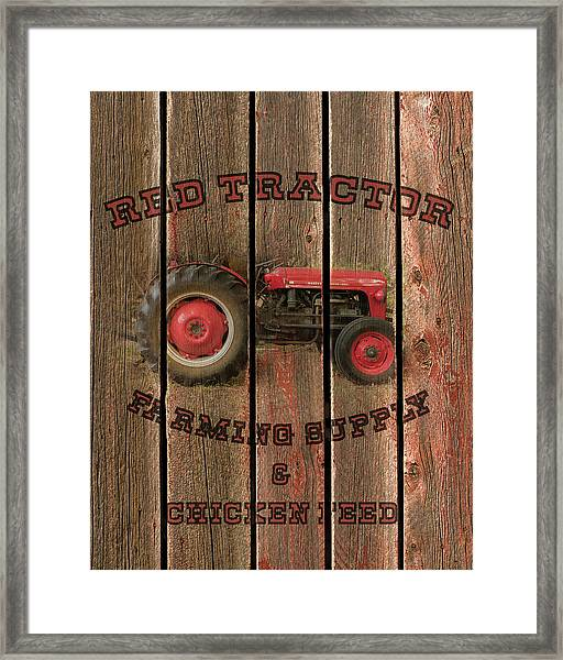 Red Tractor Farming Supply Framed Print