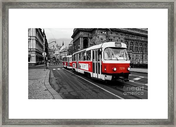 Prague - Red Tram Framed Print