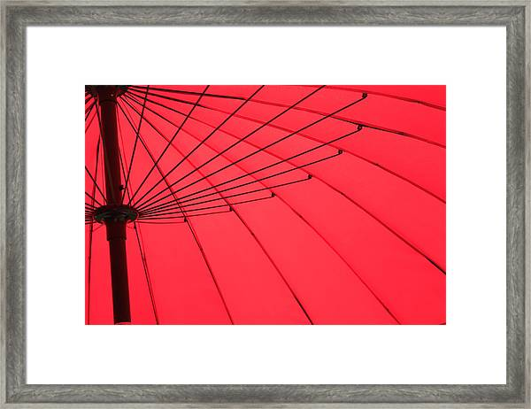 Red Umbrella Abstract Framed Print by Tony Grider