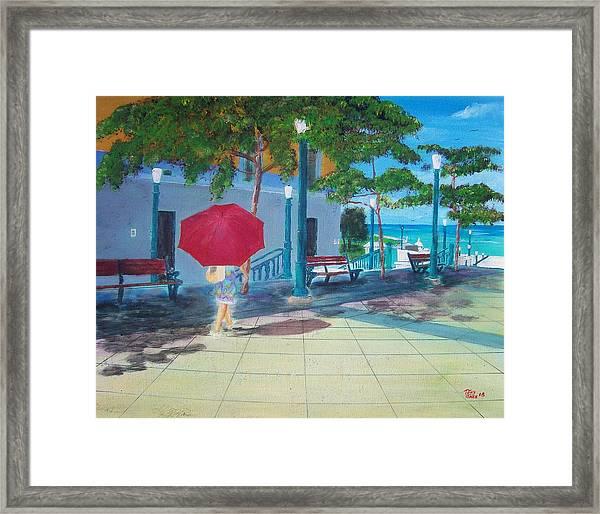 Red Umbrella In San Juan Framed Print