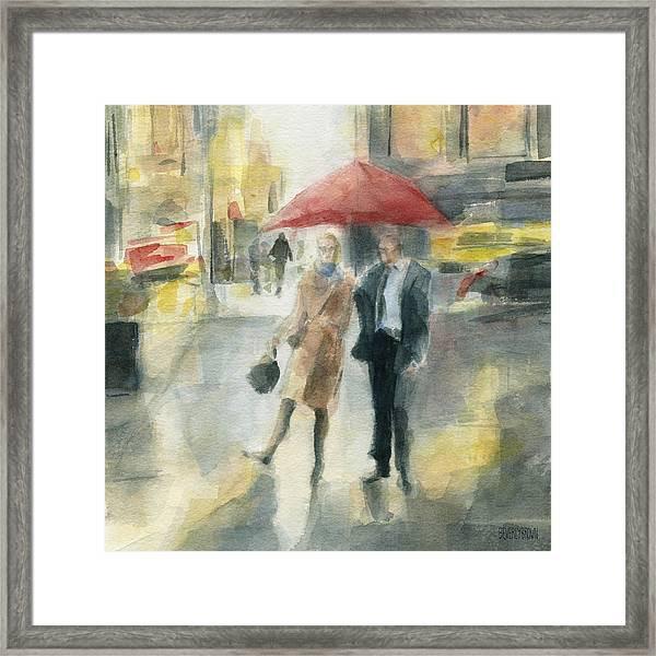 Red Umbrella New York City Framed Print