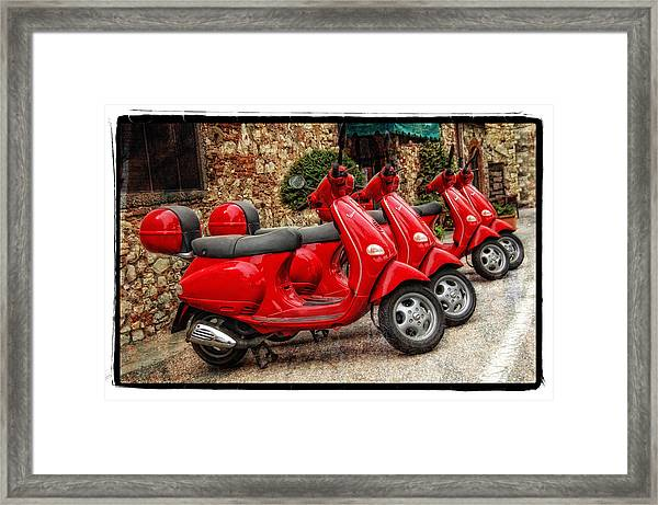 Red Vespas Framed Print