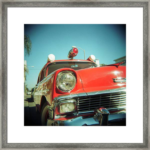 Red Vintage Ambulance Framed Print