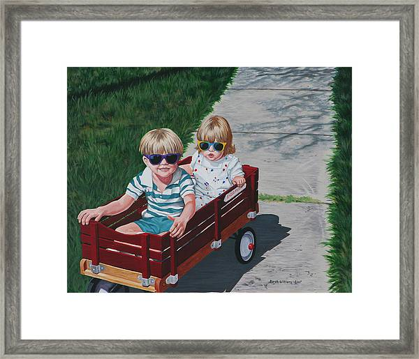 Red Wagon Framed Print by Penny Birch-Williams