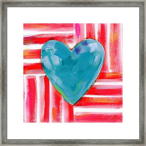 Red White And Blue Love- Art By Linda Woods Framed Print