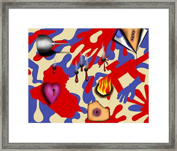 Red White And Bruised II Framed Print