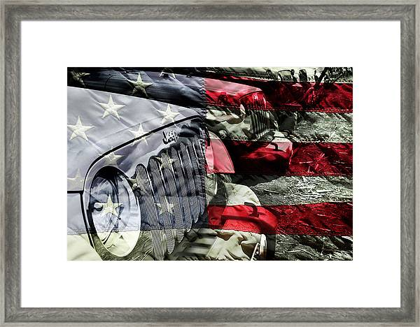 Red White And Jeep Framed Print