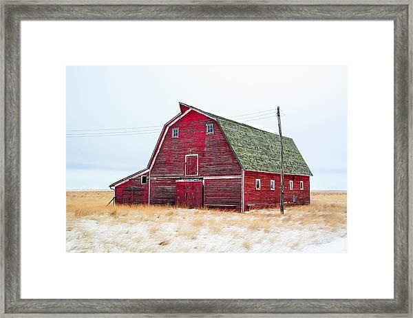 Red Winter Barn Framed Print