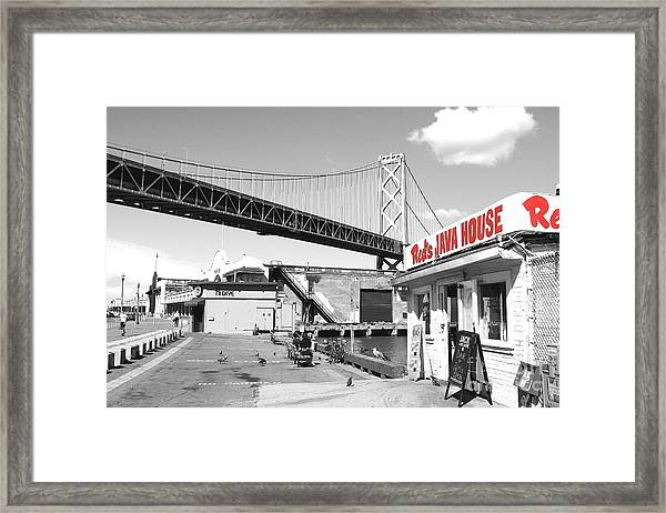 Framed Print featuring the photograph Reds Java House And The Bay Bridge In San Francisco Embarcadero . Black And White And Red by Wingsdomain Art and Photography