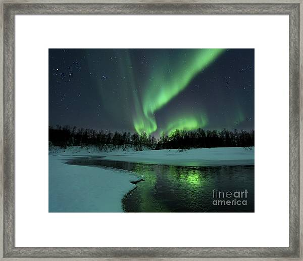 Reflected Aurora Over A Frozen Laksa Framed Print