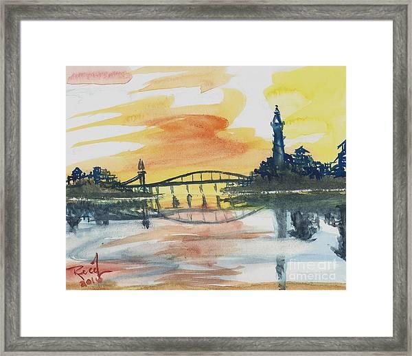 Reflecting Bridge Framed Print