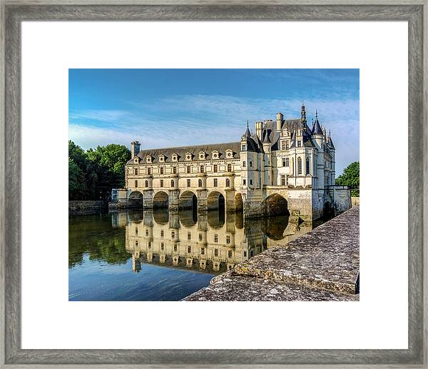 Reflecting Chateau Chenonceau In France Framed Print