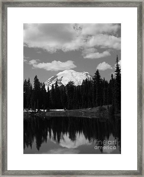 Mt. Rainier Reflection In Black And White Framed Print