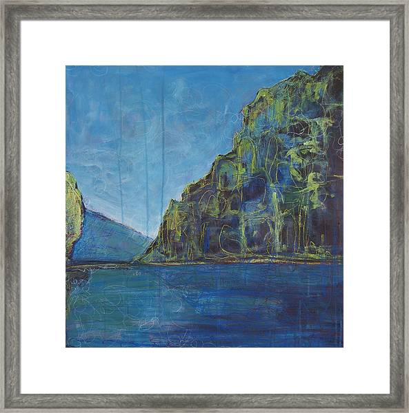 Framed Print featuring the painting Reflection Lake Garda Italy  by Laurie Maves ART