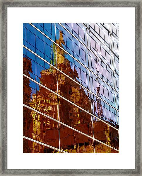 Reflection Of The Past - Tulsa Framed Print