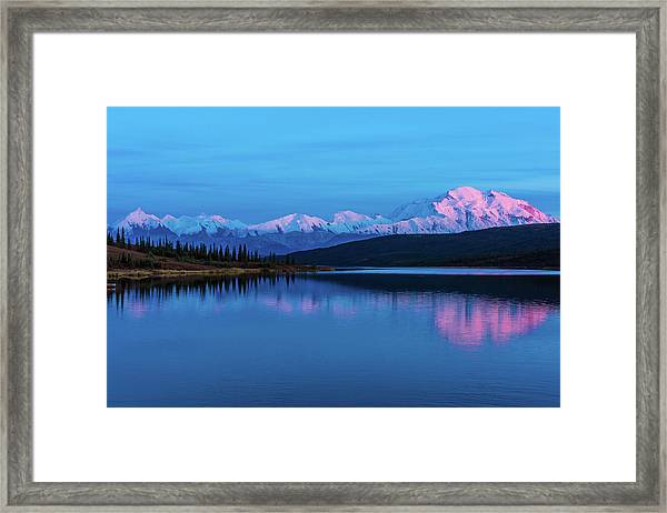 Sunset Reflections Of Denali In Wonder Lake Framed Print