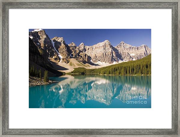 Reflections Of Moraine Lake Framed Print by Andrew Serff