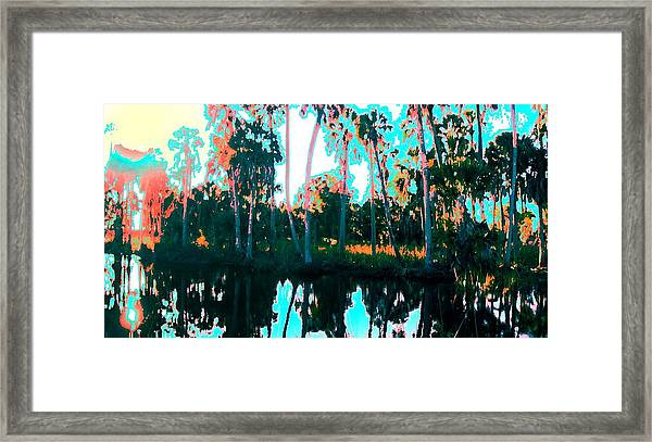 Framed Print featuring the painting Reflections Of Palms Gulf Coast Florida by G Linsenmayer
