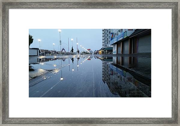 Reflections Of The Boardwalk Framed Print