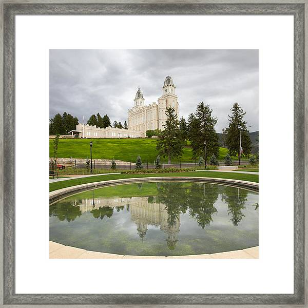 Reflections Of The Manti Temple At Pioneer Heritage Gardens Framed Print