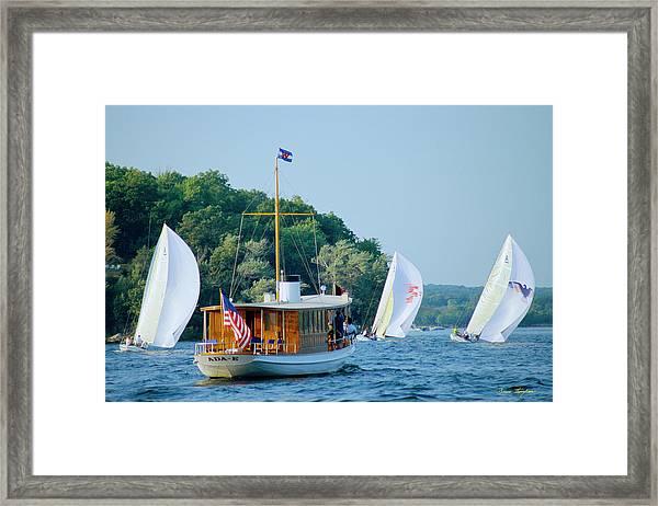 Regatta Watcher - Lake Geneva Wisconsin Framed Print