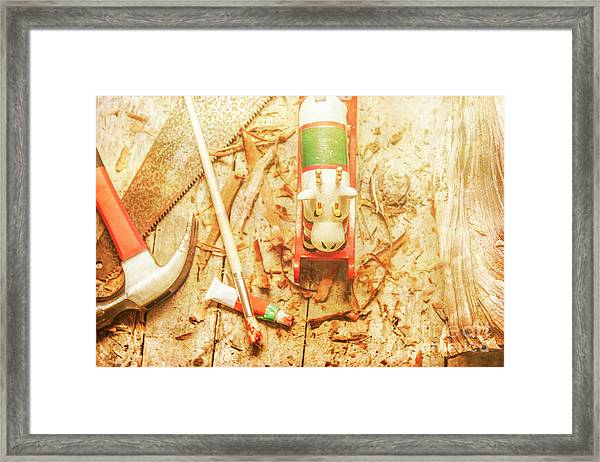 Reindeer With Tools And Wood Shavings Framed Print