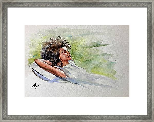 Framed Print featuring the painting Relaxing Afternoon by Katerina Kovatcheva