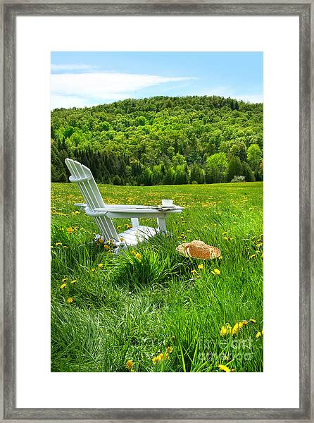 Relaxing On A Summer Chair In A Field Of Tall Grass  Framed Print