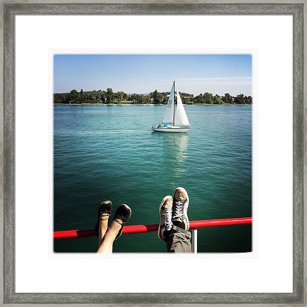 Relaxing Summer Boat Trip Framed Print