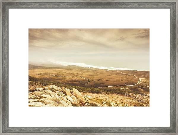 Remote Roads And Foggy Coastlines Framed Print
