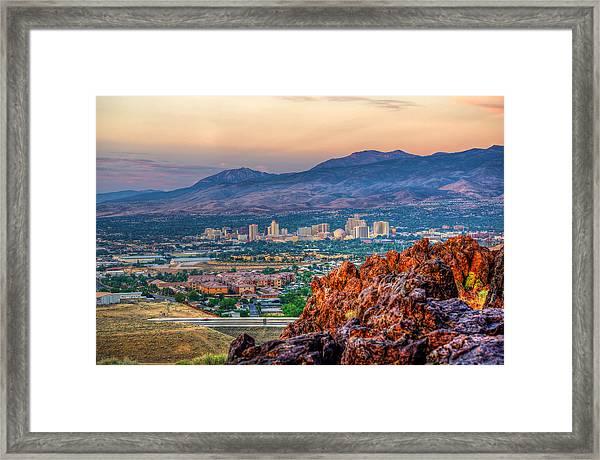 Reno Nevada Cityscape At Sunrise Framed Print