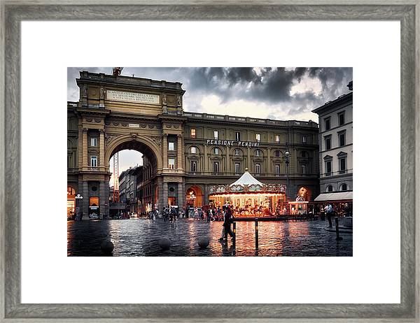 Republic Square In The City Of Florence Framed Print