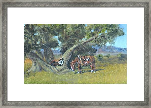 Resting Cowboy Painting A Study Framed Print