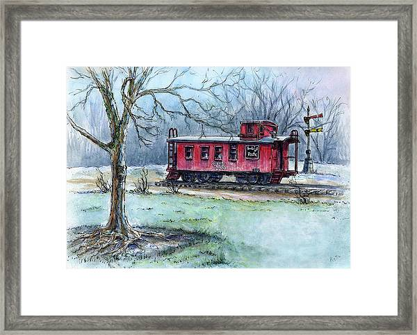 Retired Red Caboose Framed Print