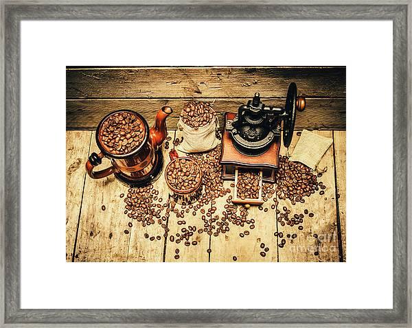 Retro Coffee Bean Mill Framed Print