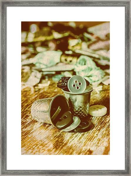 Retro Craft Buckets Framed Print