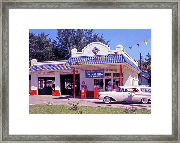 Retro Gas Station Framed Print