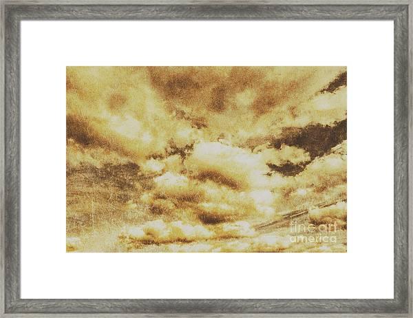 Retro Grunge Cloudy Sky Background Framed Print