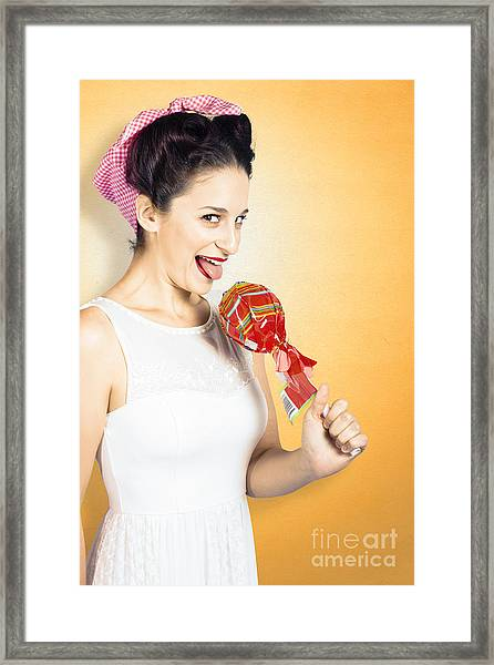 Retro Housewife Craving Sweet Candy Framed Print