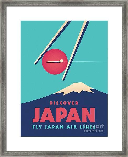 Retro Japan Mt Fuji Tourism - Cyan Framed Print