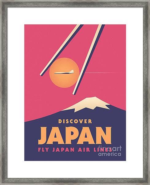 Retro Japan Mt Fuji Tourism - Magenta Framed Print