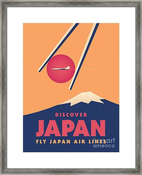 Retro Japan Mt Fuji Tourism - Orange Framed Print