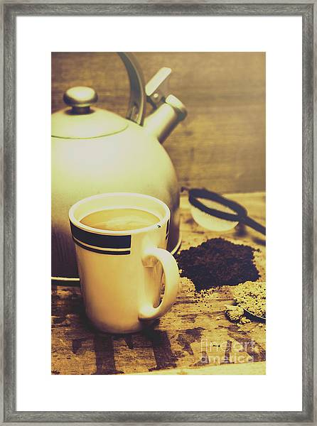 Retro Kettle With The Mug Of Tea Framed Print