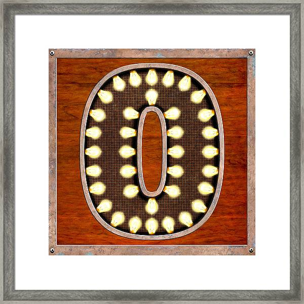 Retro Marquee Lighted Letter O Framed Print by Mark Tisdale